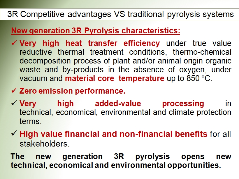 3R pyrolysis competitive advantages